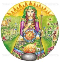 Brigid is the ancient Celtic goddess of fire, often associated with healing, poetry, and known for helping women through childbirth.