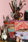 A section of my art studio! I love my brushes.